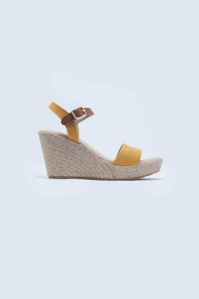 Sandales à boucle style espadrilles jaune