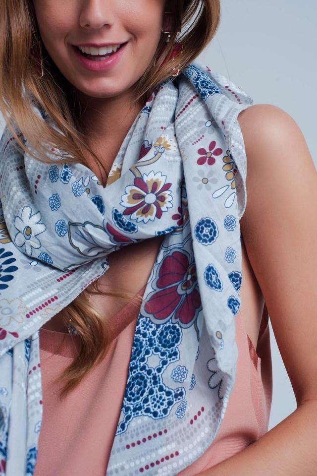 Écharpe avec fleur impression de gris