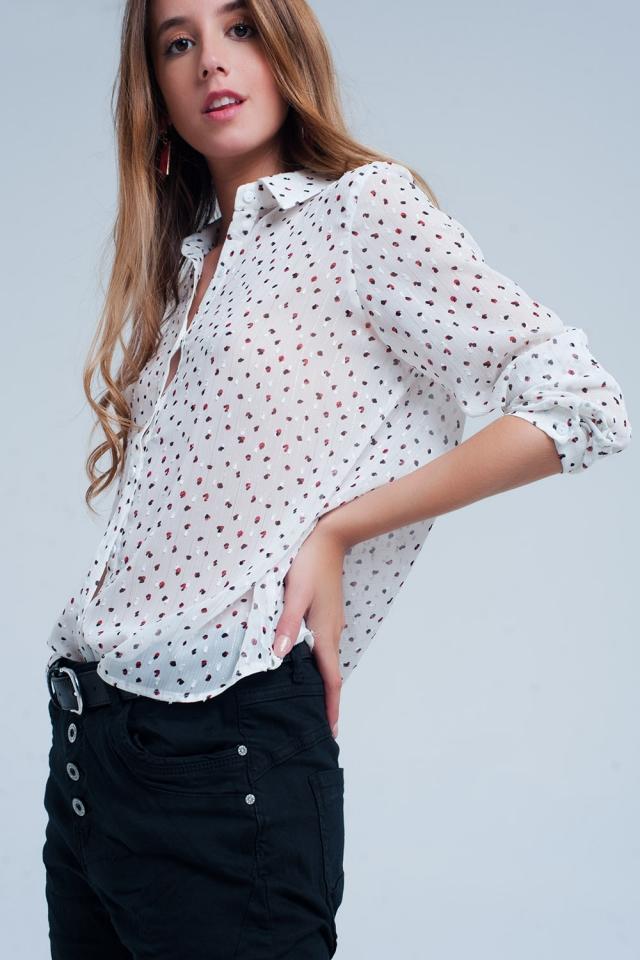 Chemise blanc classique transparente à pois