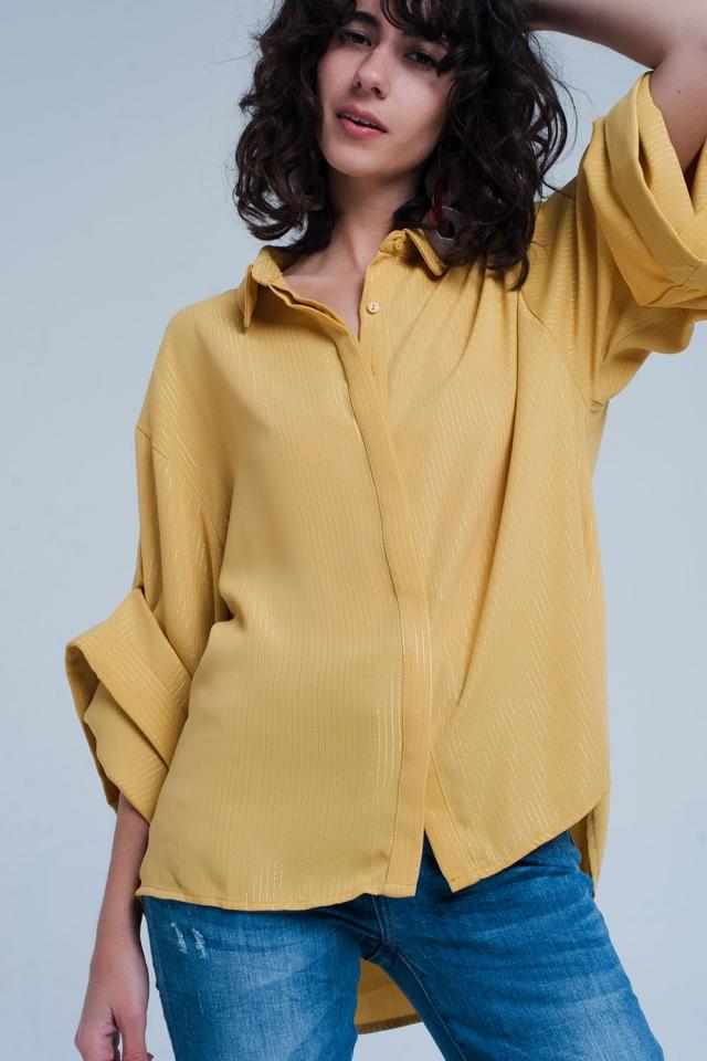 Chemise oversize jaune avec détails en lurex