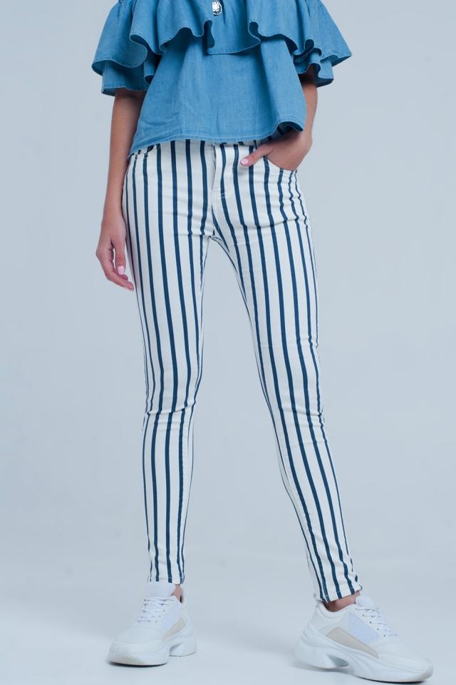 Jean skinny à rayures blanc et bleu foncé