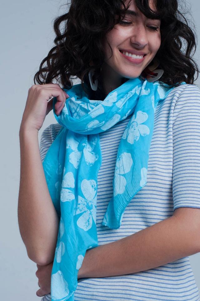 Foulard turquoise imprimé fleurs