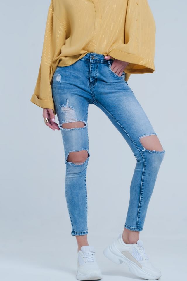 Jean skinny effet usé denim léger