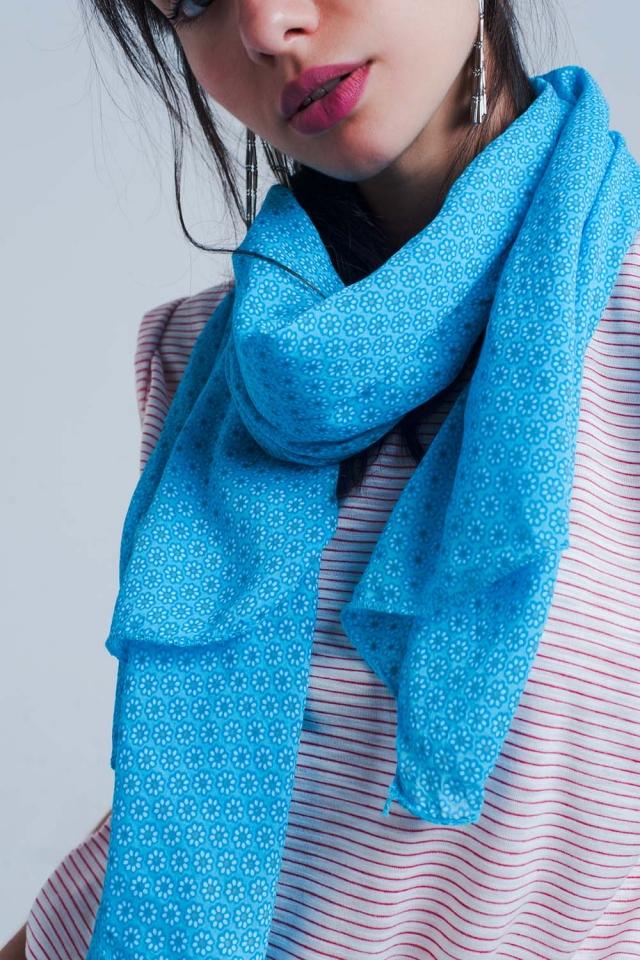 Foulard imprimé bleu