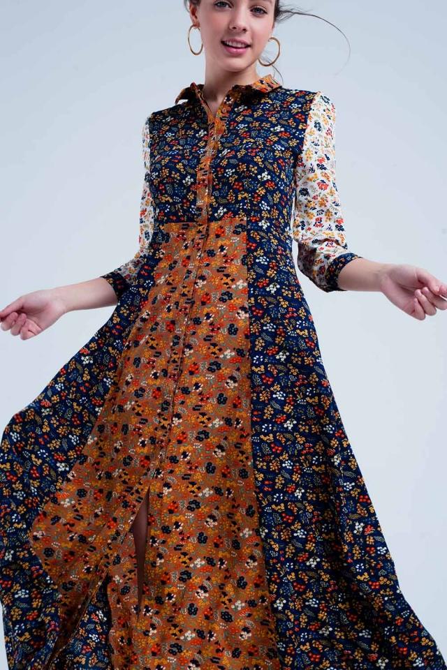 Robe couleur marine chemise à manches longues et motif floral