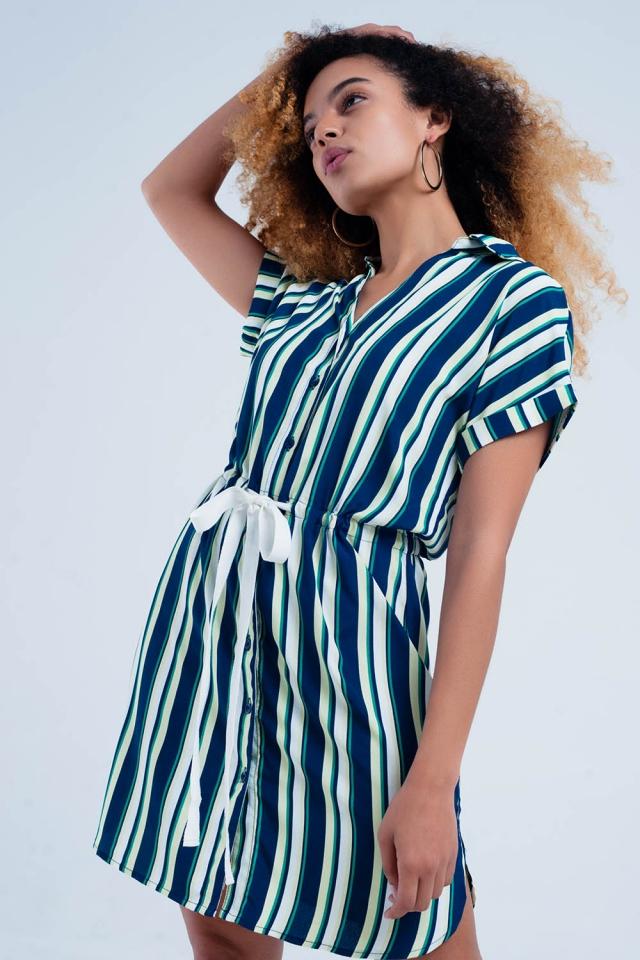 Robe couleur marine chemise rayée avec lien à la taille