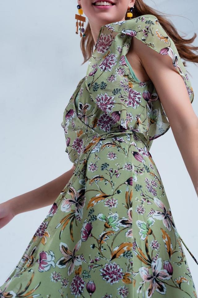 Robe cache-cœur vert à fleurs