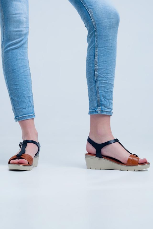 Sandales compensées noires camel
