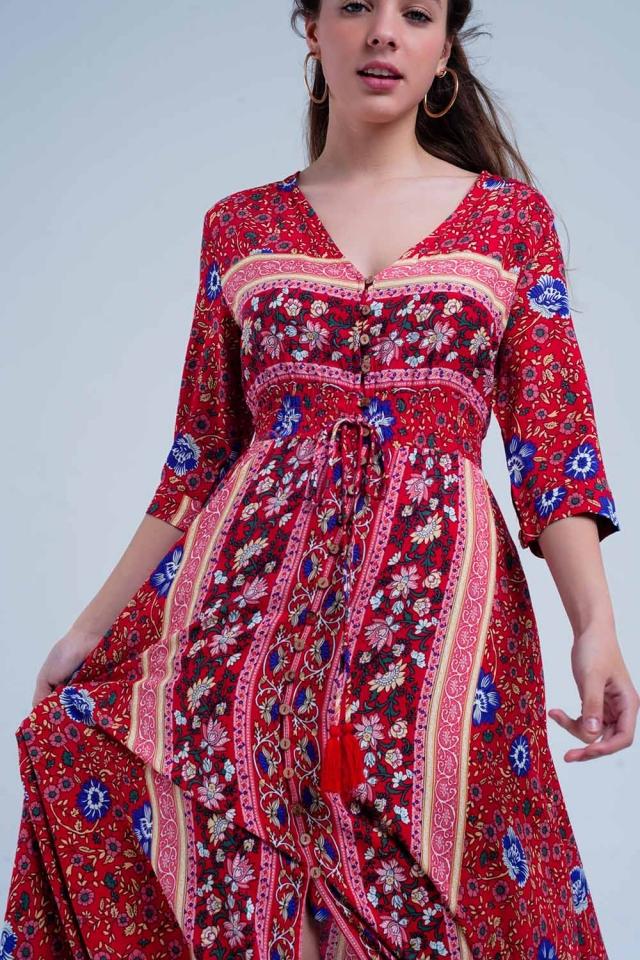 Robe longue à rayures et imprimé floral rouge