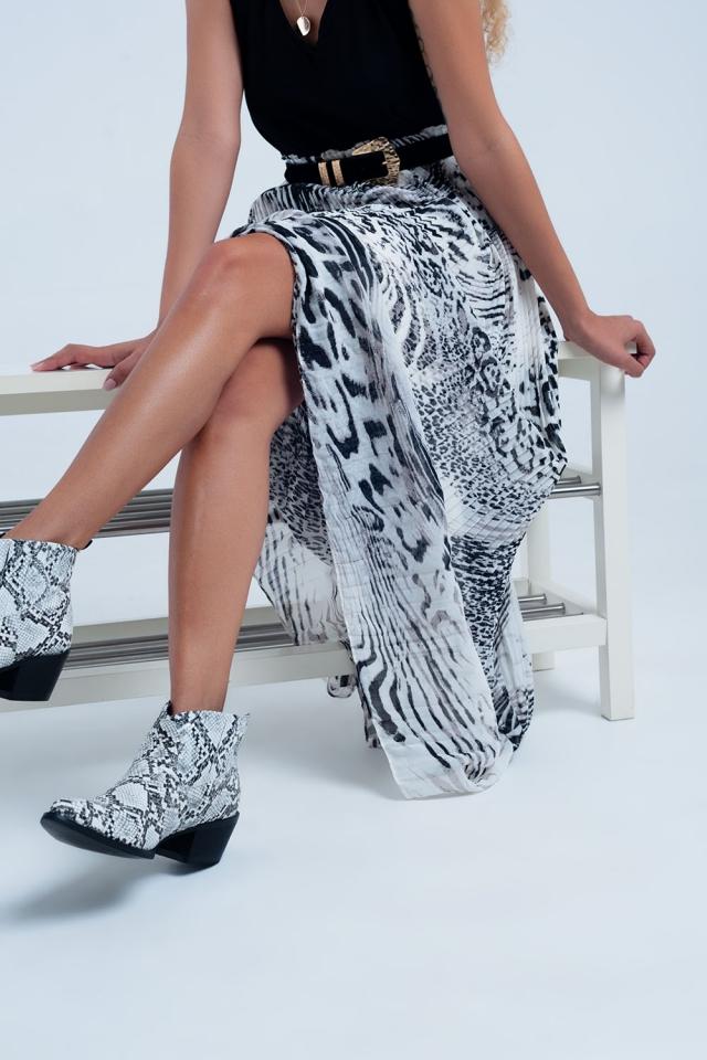 Jupe plissée à imprimé léopard
