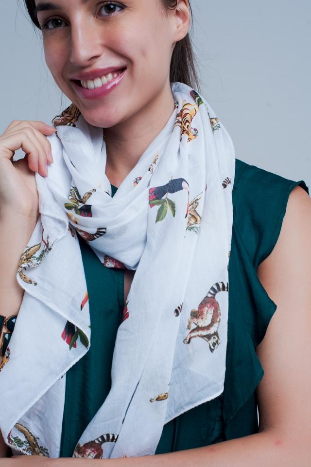Foulard blanc imprimé animal