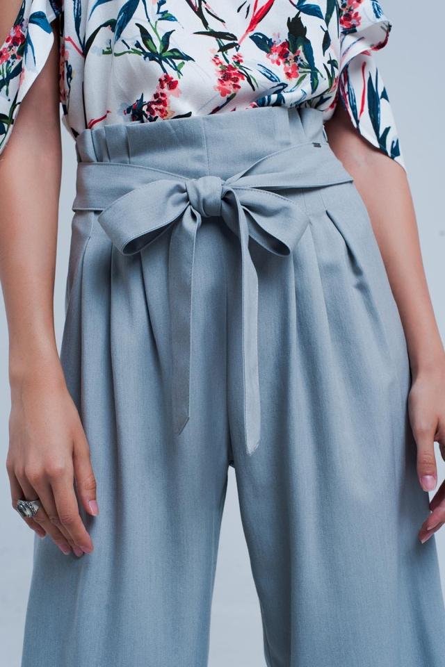 Pantalon gris large à pinces paperbag