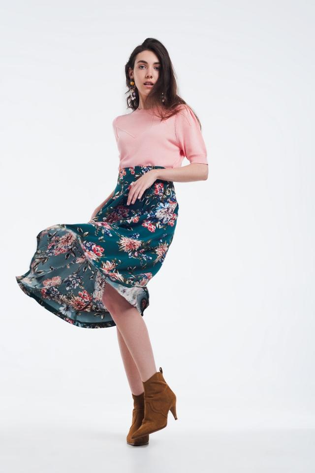 Jupe mi-longue à fleurs avec plis plats vert