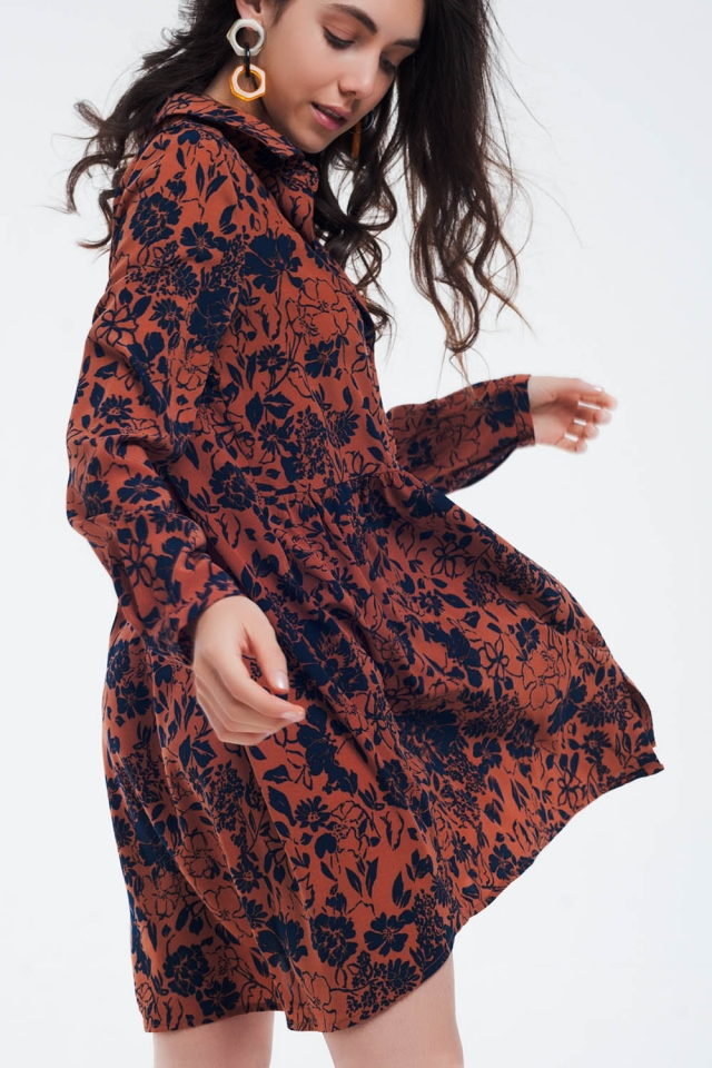 Robe à boutons et basse basse orange