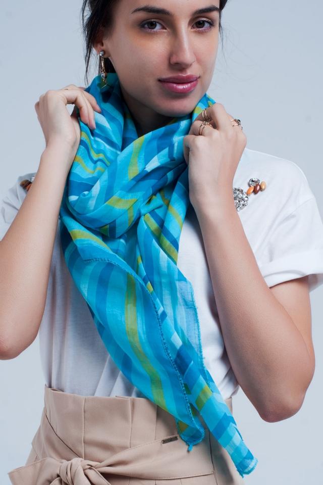 Mouchoir turquoise à rayures bleues