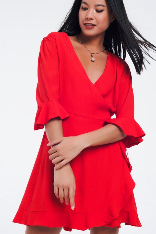 Robe croisée en rouge