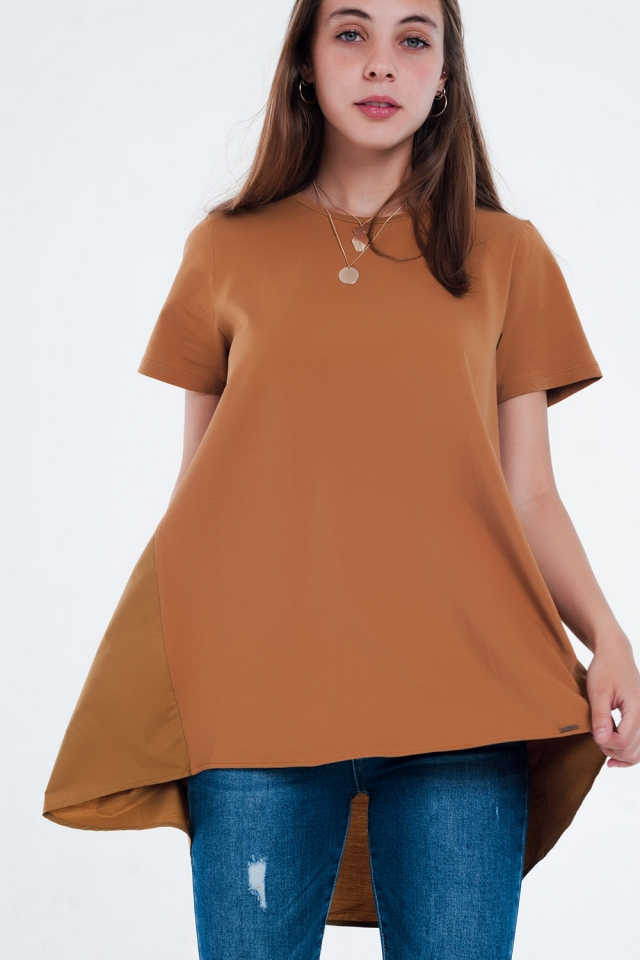 Robe t-shirt en marron