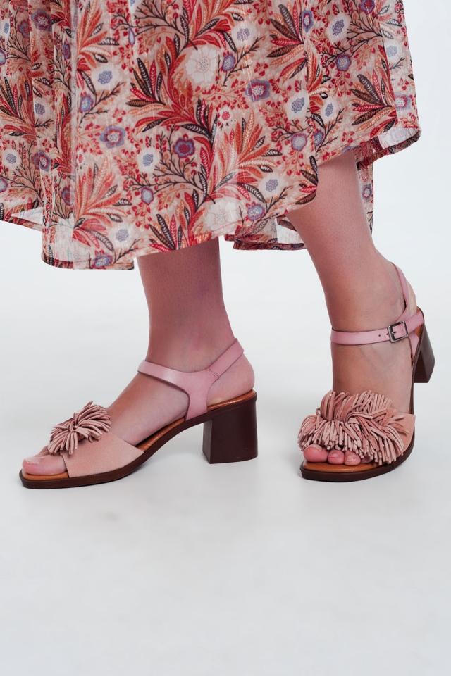 Sandales à talons hauts à volants en Rose