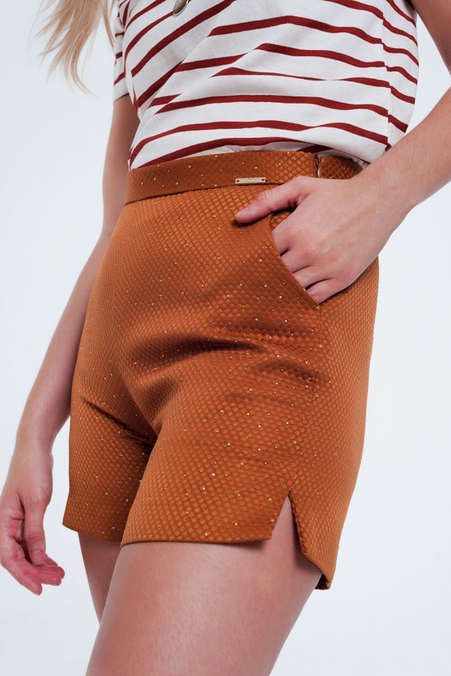 Short taille haute ornementé orange et or