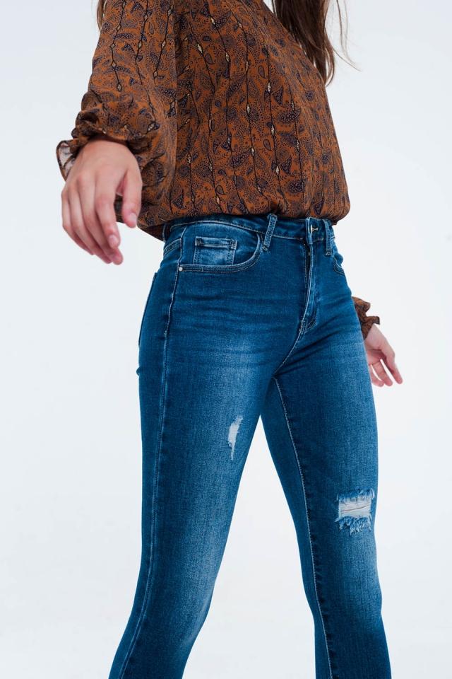 Jean skinny effet usé à ourlet déchiqueté Bleu moyen
