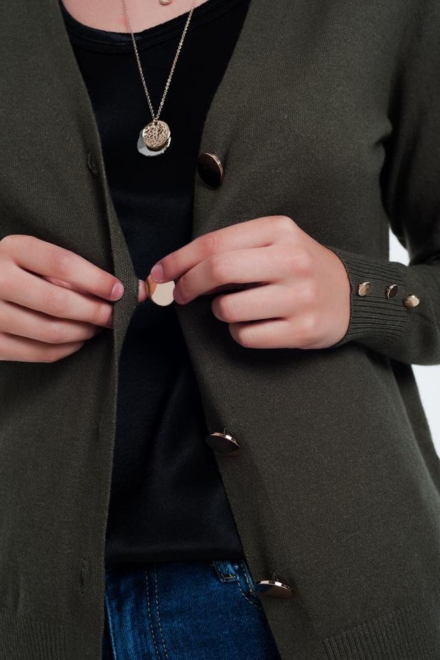 Cardigan kaki avec boutons