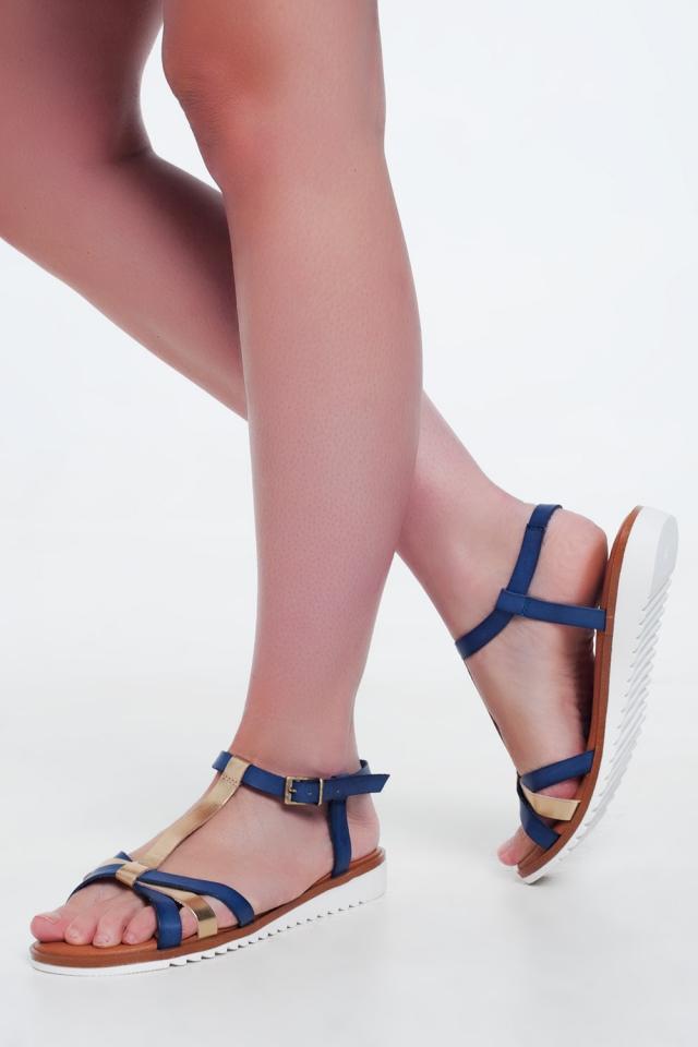 Sandales compensées or et bleu