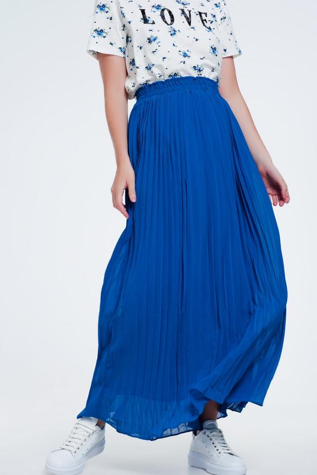 Jupe longue plissée bleu