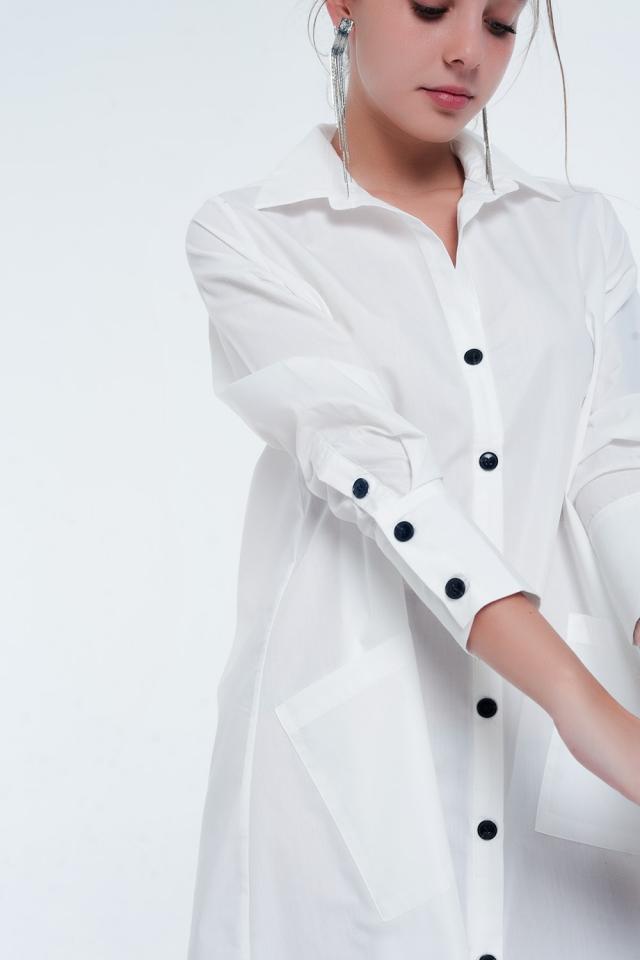 d7fcf9f420 Nouvelle collection Robe chemise mi-longue fonctionnelle avec poches e blanc
