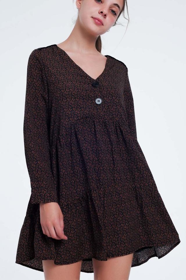 Robe courte boutonnée avec jupe à volants et imprimé à fleurs