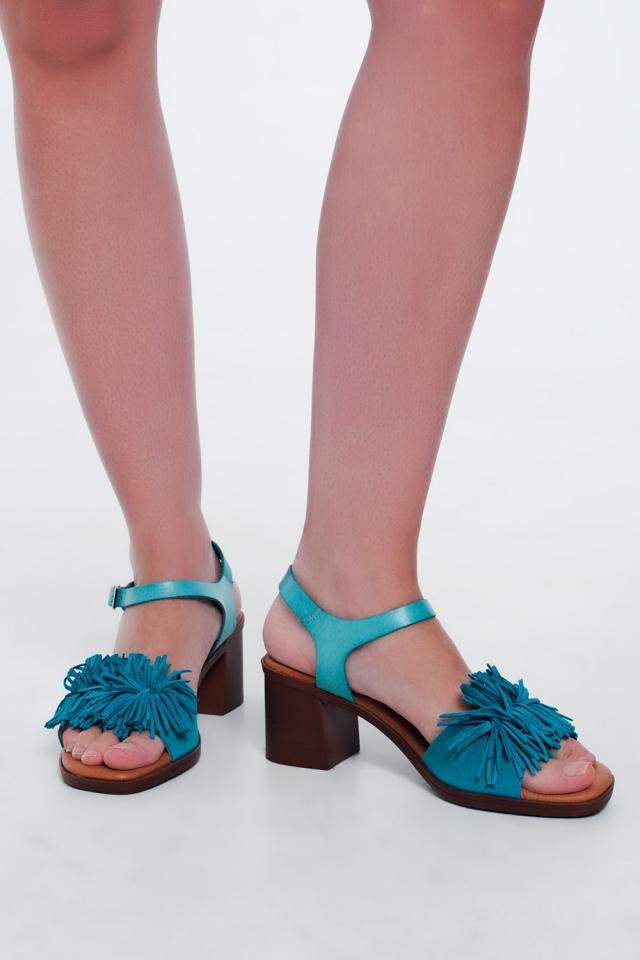 Sandales à talons hauts à volants en Turquoise