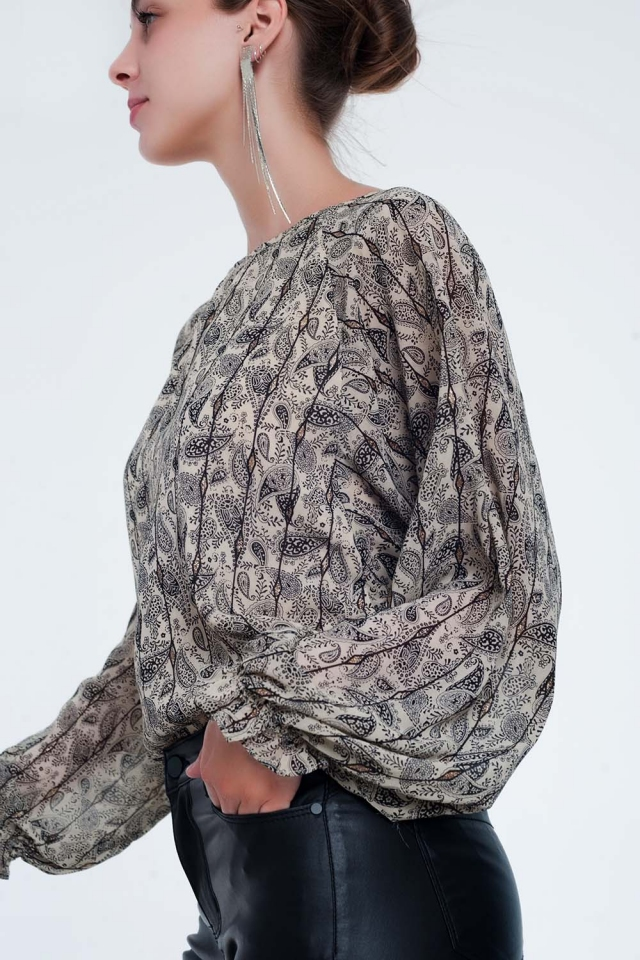 Chemise à manches longues beige avec imprimé cachemire