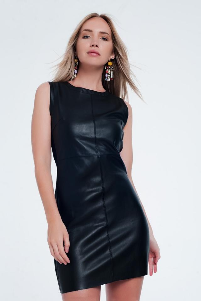 Noir Robe droite mélangée en similicuir