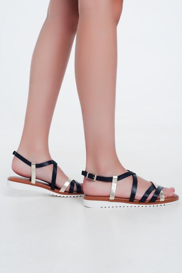 Sandales plates avec sangles croisées et de la cheville nouée noir