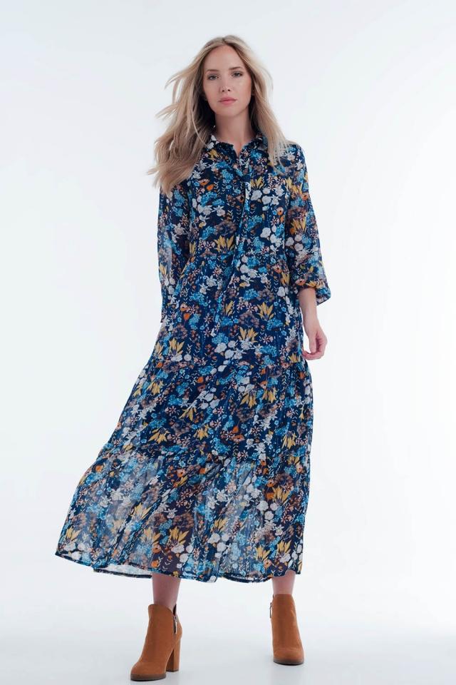 Robe chemise bleu transparente mi-longue à fleurs avec superpositions
