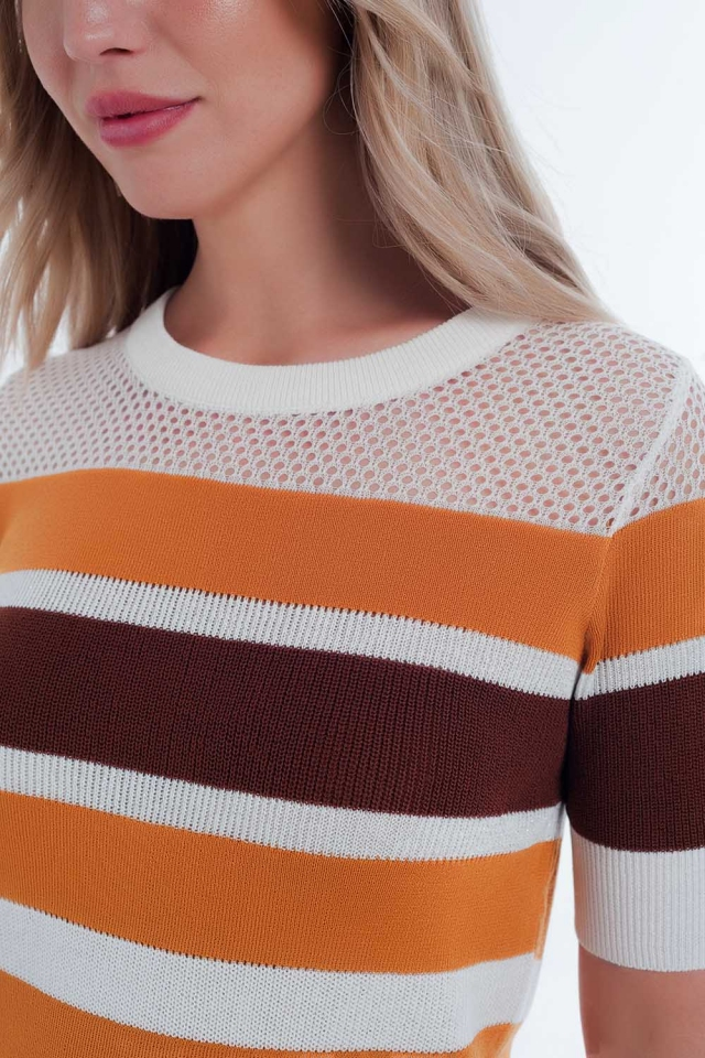 Moutarde ouverte rayé pull en tricot