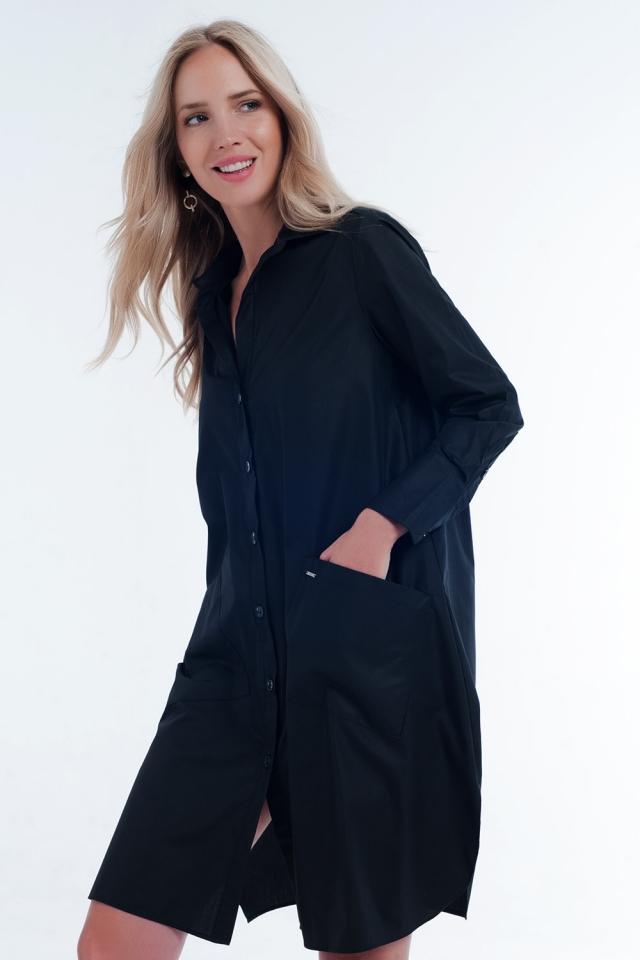Robe chemise mi-longue fonctionnelle avec poches e noir