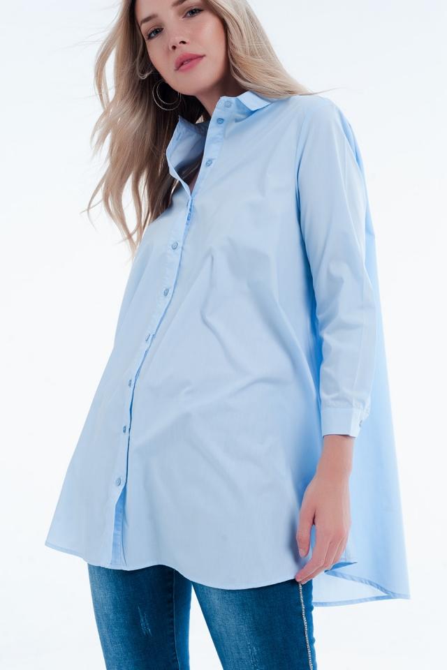 Robe chemise longue bleu popeline