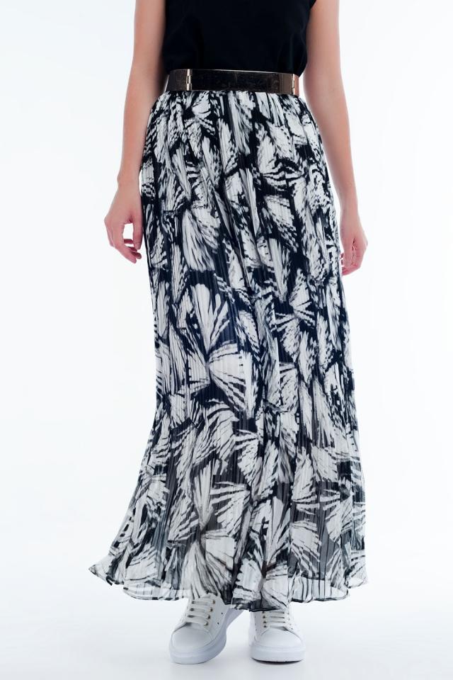 Jupe longue à imprimé abstrait en blanc et noir