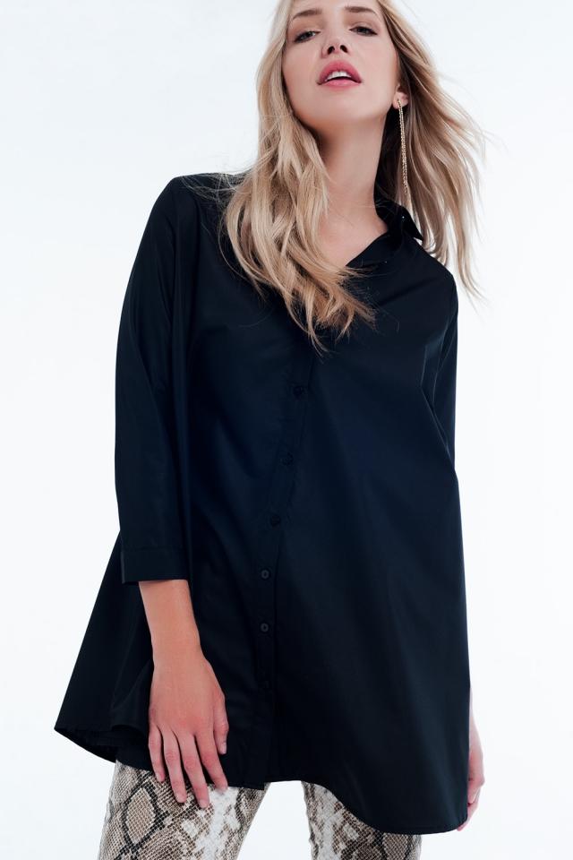 chemise longue noir popeline