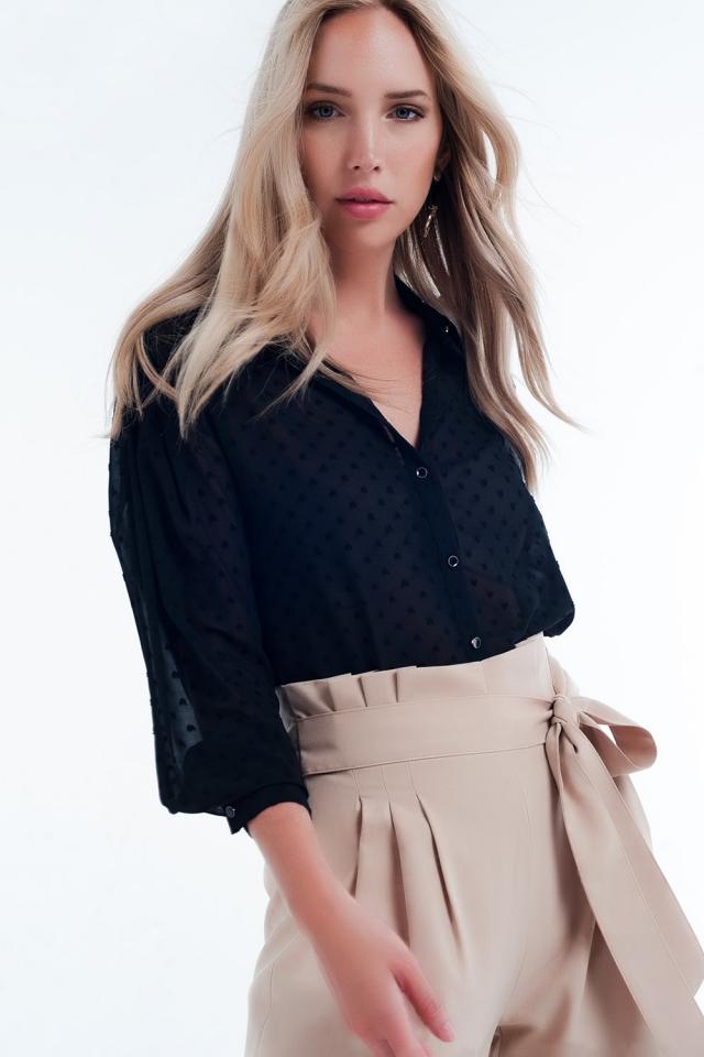 Chemise transparente couleur noir décontractée à pois discrets