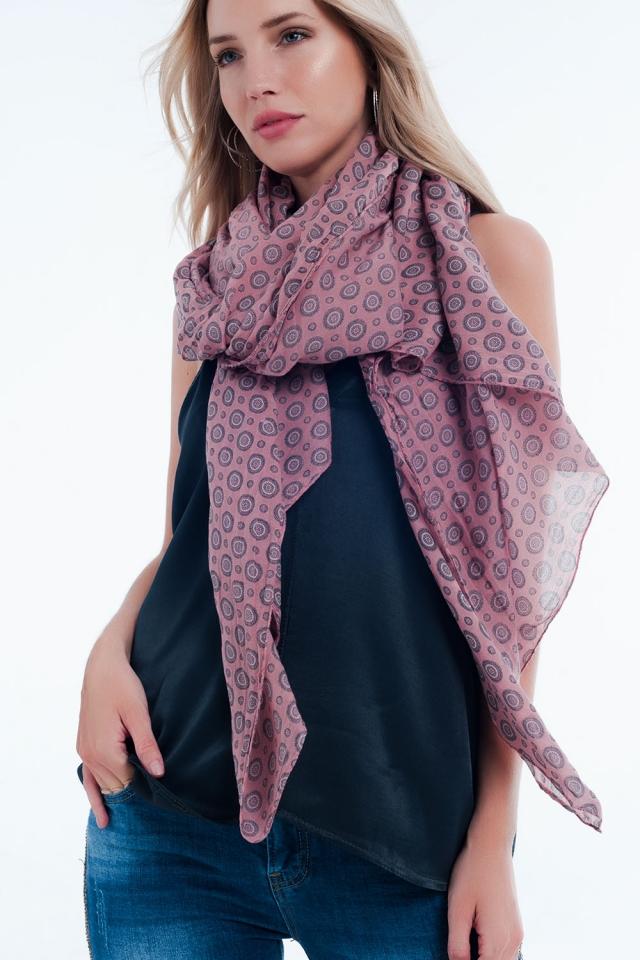 foulard rose monogramme