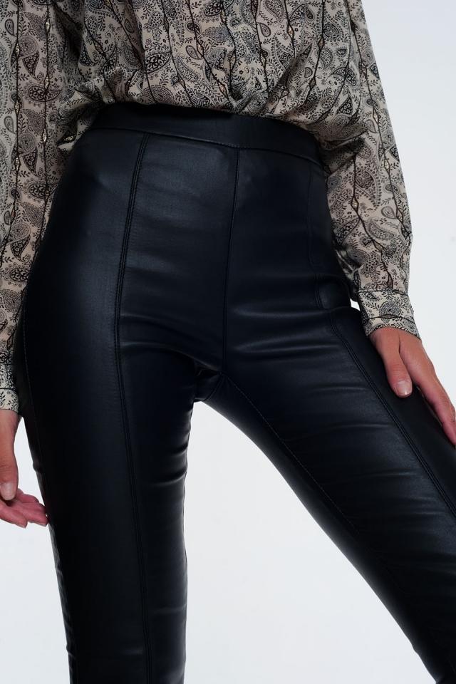 Leggings en similicuir avec taille élastique super skinny