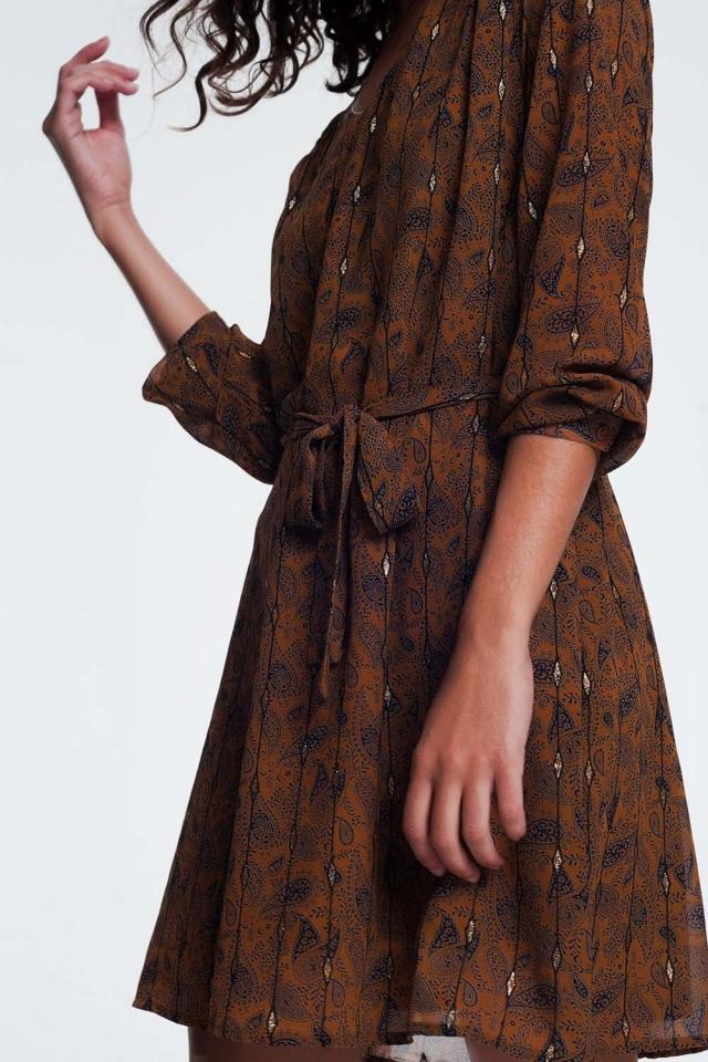 Robe à ceinture à imprimé jacquard