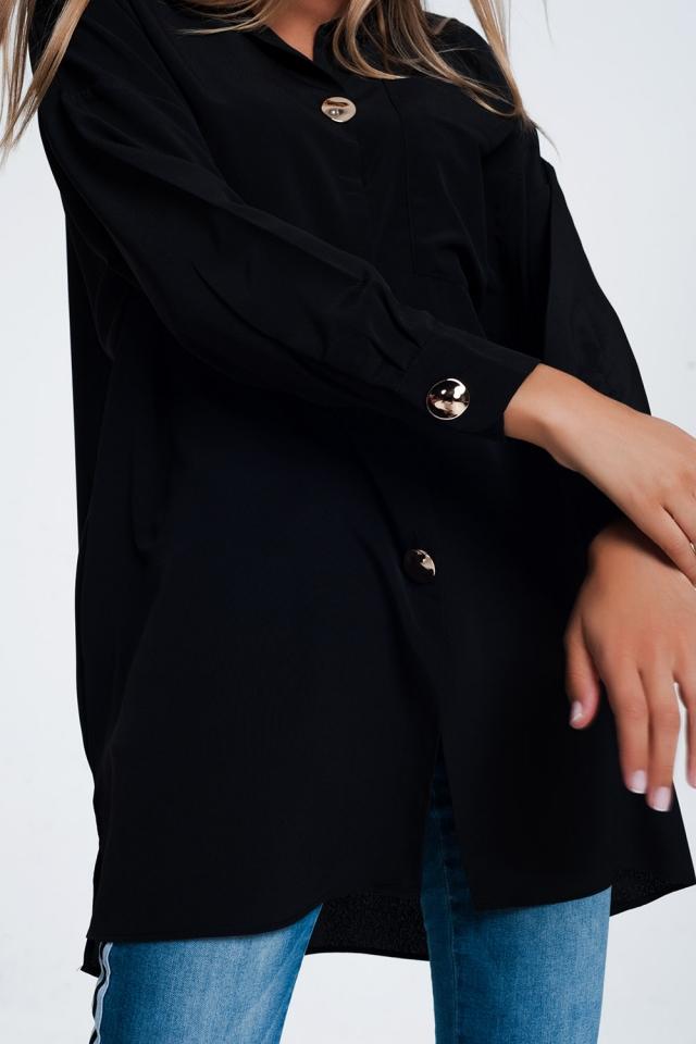 Chemise manches longues oversize à bouton noir