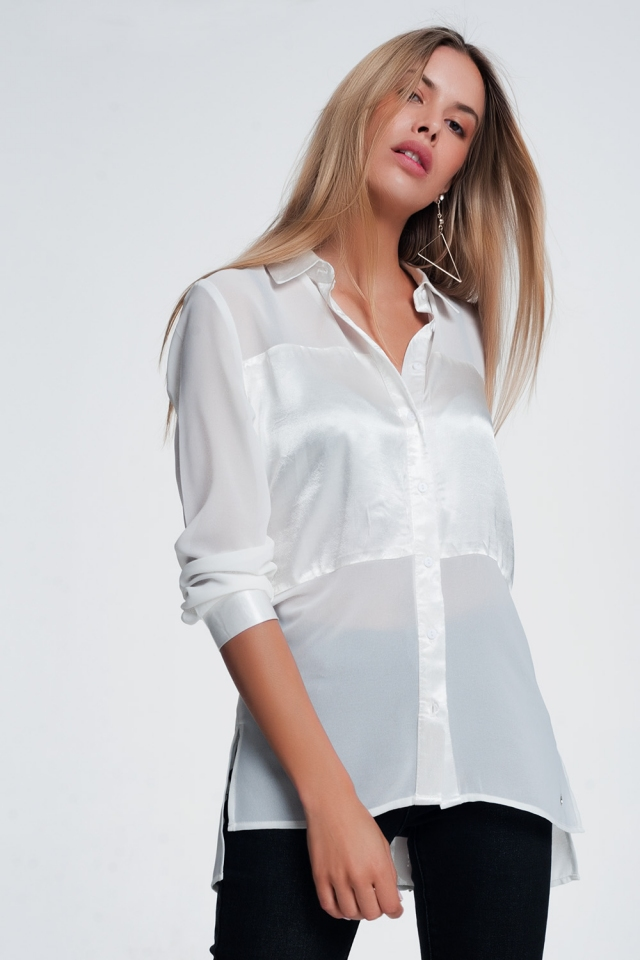 white satin shirt