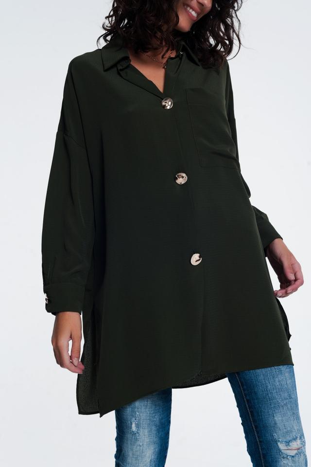 Chemise manches longues oversize à bouton en kaki