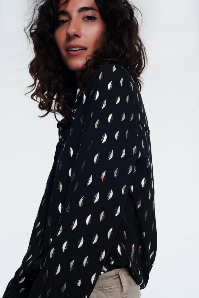 chemise noire à imprimé métallisé