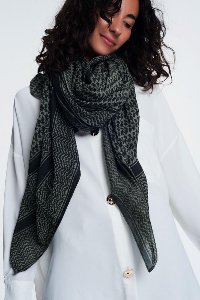 foulard imprimé geometric kaki