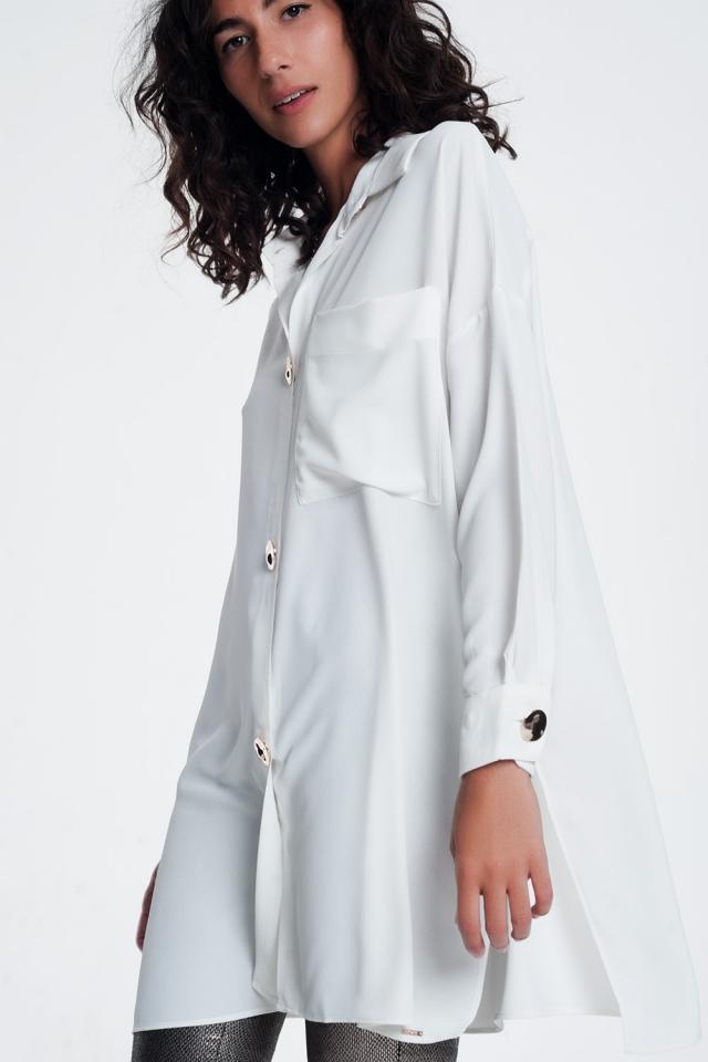 Chemise manches longues oversize à bouton blanc