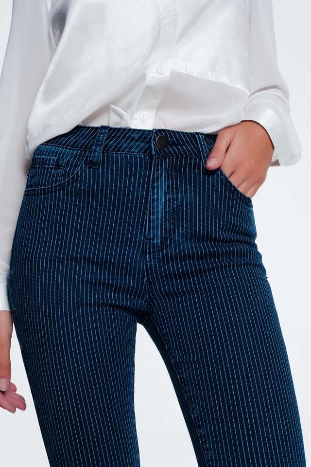 Jean skinny à rayures